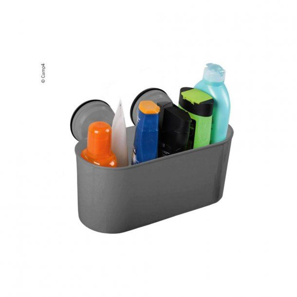 Opbevaringskasse med 2 sugekopper – Antracitgrå plast