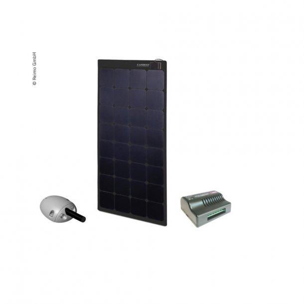 Solpanel komplet 12v/100W – med lader og taggennemføring - Sort