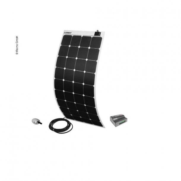 Solpanel komplet 12v/130W – med lader og taggennemføring - Hvid