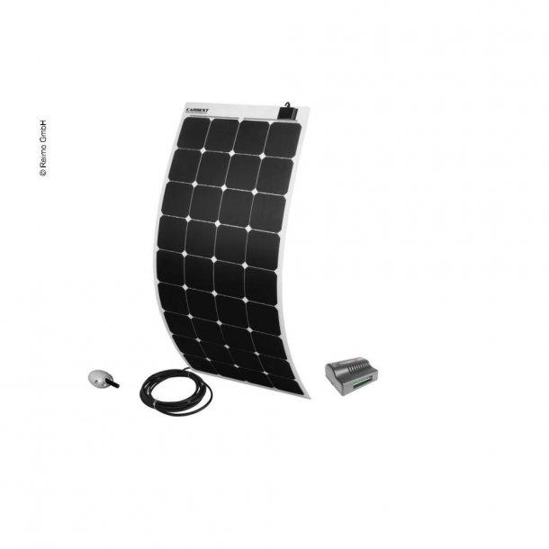 Solpanel komplet 12v/115W – med lader og taggennemføring - Hvid