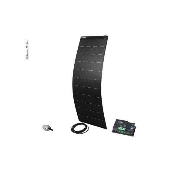 Solpanel komplet 12v/160W – med lader og taggennemføring - Sort