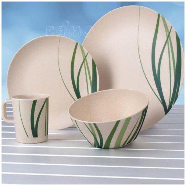 NATURE Bambus servicesæt i melamin og bambus – 16 dele