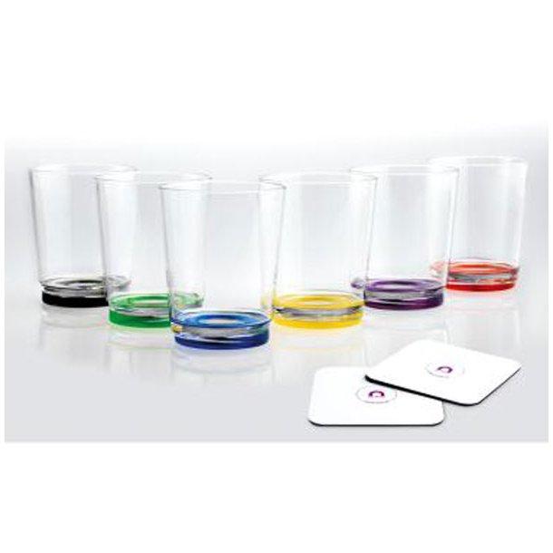 Klassisk polykarbonatglas med magnet bund + glasbrikker - 6 stk.