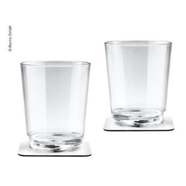Klassisk klar polykarbonatglas med magnet bund + glasbrikker