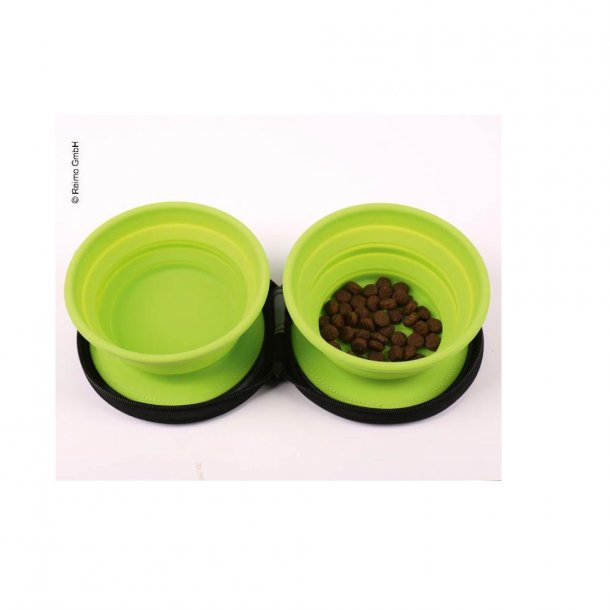 "Hundeskål ""Twin"" med 2 foldbare silikone skåle"