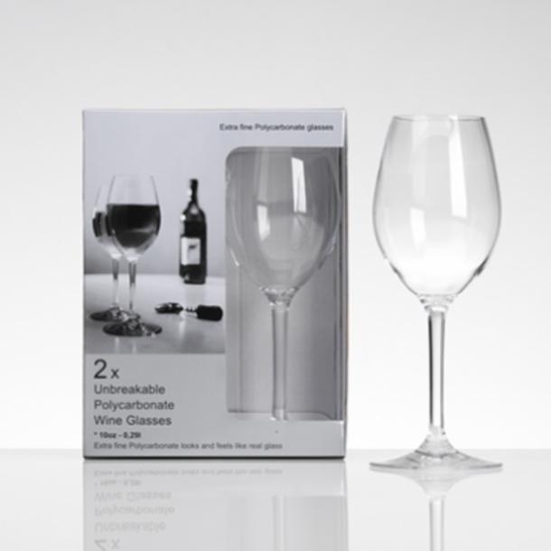 Hvidvinsglas i polycarbonat, 2 stk