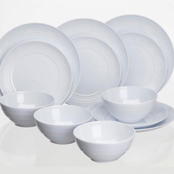 Cool White non-slip melamin servicesæt - 12 dele